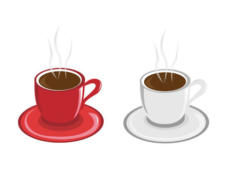 two cup of coffe isolated on white backgrond Stock Vector - 7807242