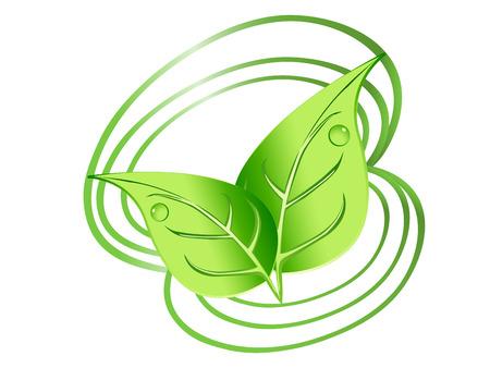 compa�erismo: Dise�o de hojas verdes con gotas y espirales Vectores