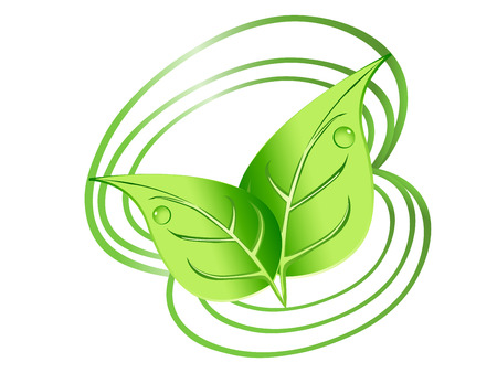 leaf logo: Green leaves design with drops and spirals