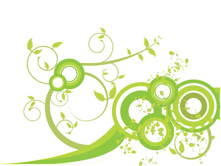 Green leaves with spirals and splashes Illustration