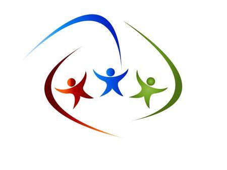 ordinateur logo: logo de personnes Illustration