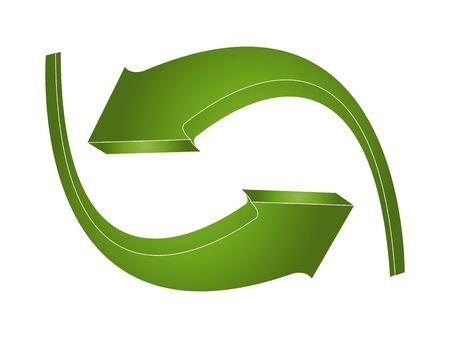 logo reciclaje: flechas verdes 3D Vectores