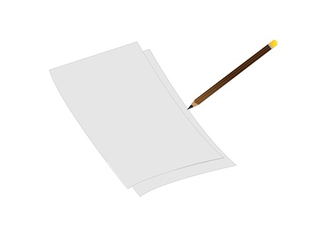 3d  white sheet of paper with pencil Stock Vector - 9319979