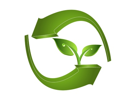 company logo: 3d green arrows and leaves