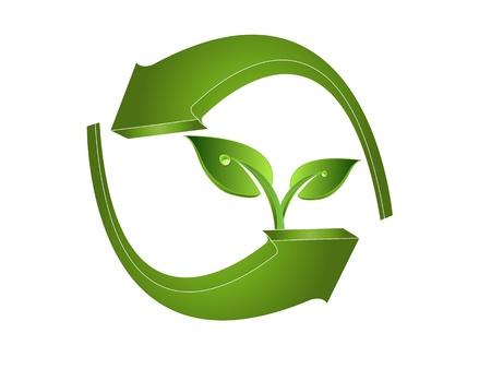logo recyclage: les feuilles et les fl�ches vertes 3d