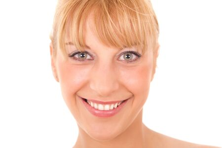 close up eyes: portrait of young healthy women isolated  Stock Photo