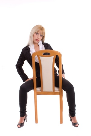 beautiful young women with chair Stock Photo - 9836254