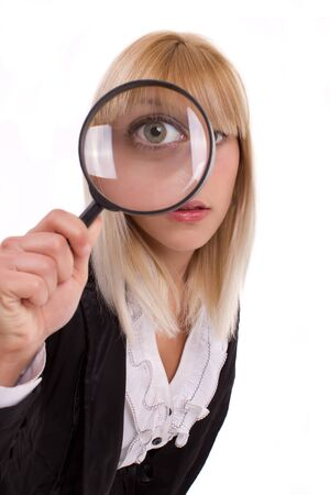see through: female detective looking for something Stock Photo