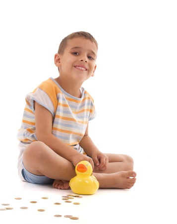 boy and duck Coin Box Stock Photo - 9927084