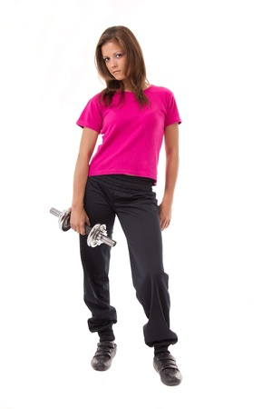 woman posing with weights Stock Photo - 10202278