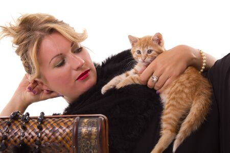 attractive woman looking at the cat Stock Photo - 10677538