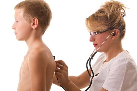 successful female doctor examing child photo