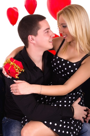 Young attractive couple on romantic date photo