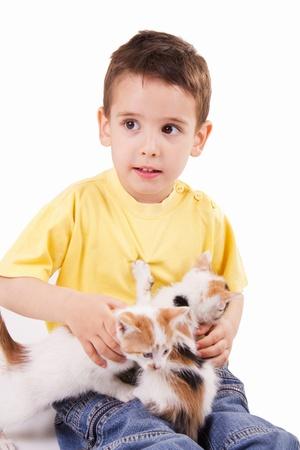 sonriente joven con el gato Foto de archivo