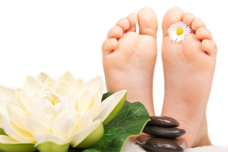 children foot ready for massage spa treatment photo