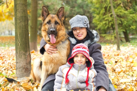 Mom son and faithful friend the dog photo