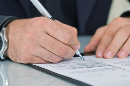 businessman  working with documents sign up contract  photo