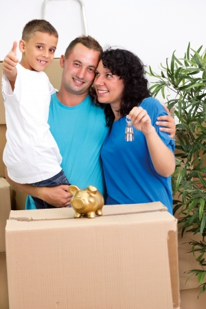 Happy smiling family after move  photo