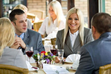 business deal in restaurant photo