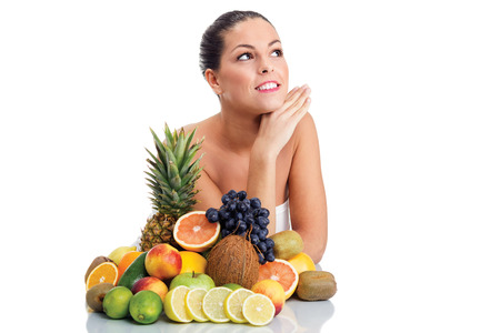woman and fresh fruit,healthy life concept photo