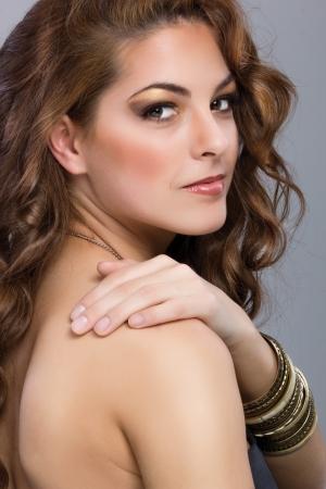 beautiful brunette model with long hair portrait photo