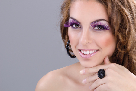 beautiful and elegant woman, colorful make up photo