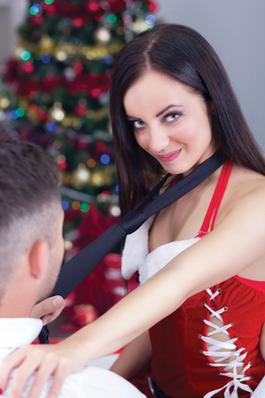sexy female Santa seduces man on Christmas night   photo