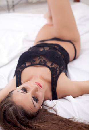 sexy woman in black lingerie photo