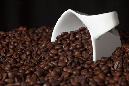 fresh roasted  coffee beans and and white coffee cup photo