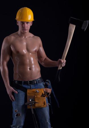 hatchet:  muscular man holding hatchet