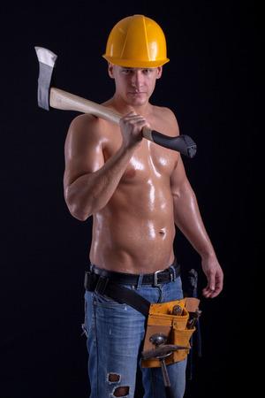 Ņhatchet: muscular man holding hatchet