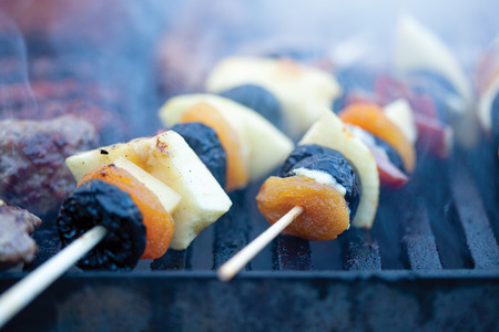 shishkabab: delicious vegetables and meat on the grill Stock Photo