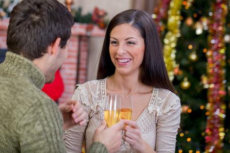 romantic couple celebrate Christmas night photo