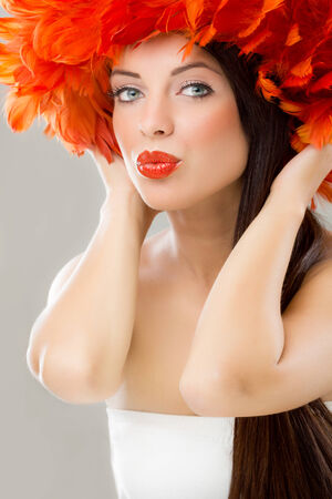 beautiful woman, fashion and make-up concept photo