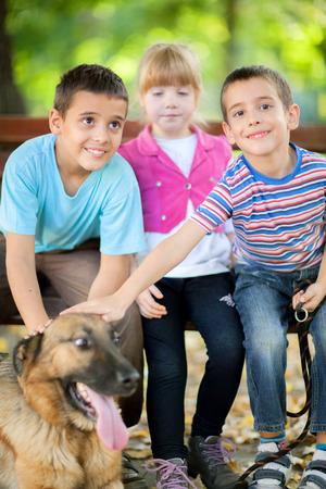 children in the park with a German Shepherd photo