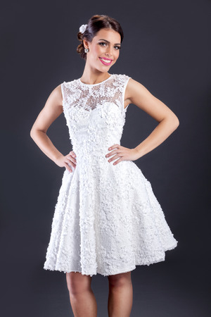 avantegarde: elegant woman in white wedding dress Stock Photo