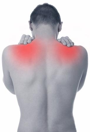 douleur epaule: M�le adulte avec douleur � l'�paule aigu� Banque d'images
