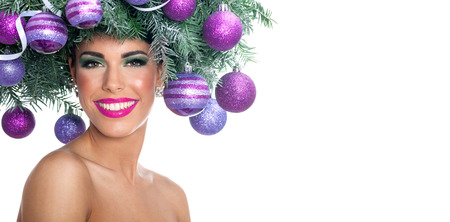 Beautiful woman portrait in concept Christmas image photo