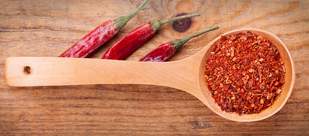 wooden spoon: paprika powder spices on spoons,on wooden background