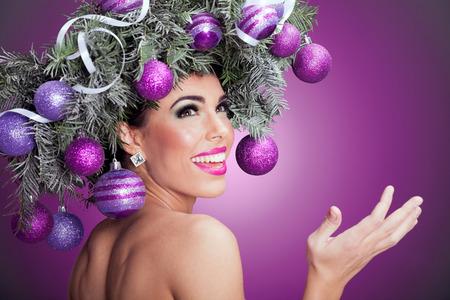 Beau portrait de femme concept de l'image de Noël Banque d'images