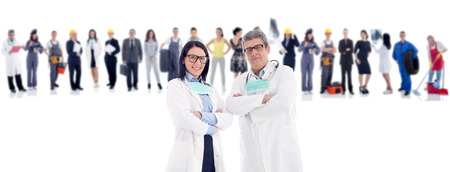 Group of industrial workers,workers physician and bussines people photo