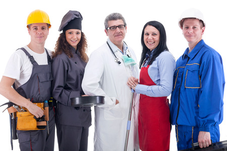 Group of industrial workers,physician,cook, mechanic and electrician