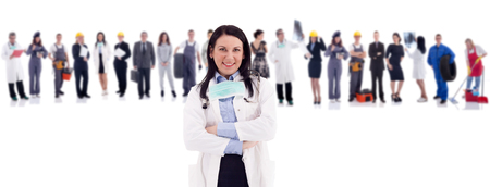 bussines people: Group of industrial workers,workers physician and bussines people