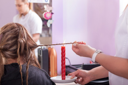 candle: haircut candle or Brazilian new style, hair burning split end treatment