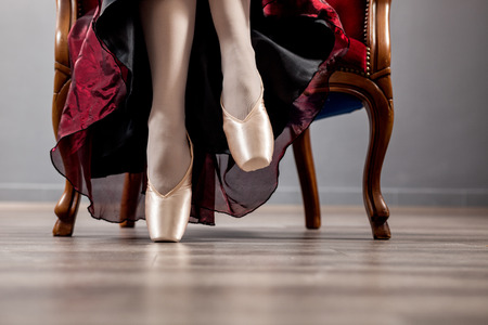 black shoes: Dancer in ballet pointe shoes