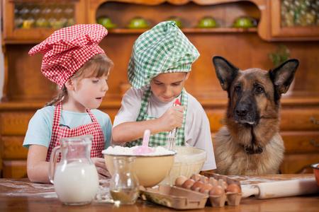 niños cocinando: niños que se preparan las galletas en la cocina, observando pastor alemán Foto de archivo