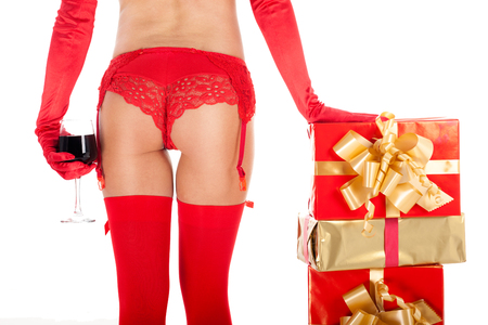 sex santa: Sexy young woman wearing red stocking and red glove,sexy Xmas concept Stock Photo