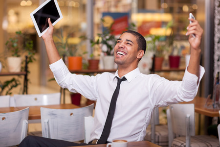 concluded: successful  businessman celebrates concluded business  at the restaurant Stock Photo