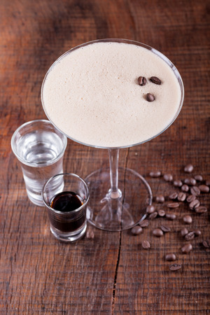 martini: Coffee Martini cocktail on wooden background