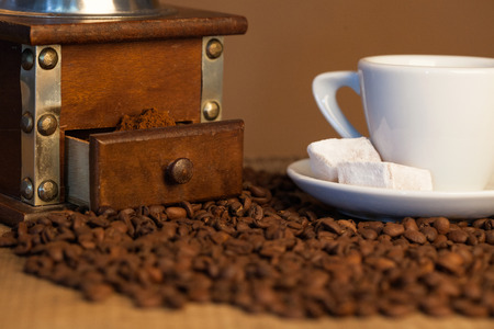 oldstyle: mill,and other accessories for the coffee in an old-style